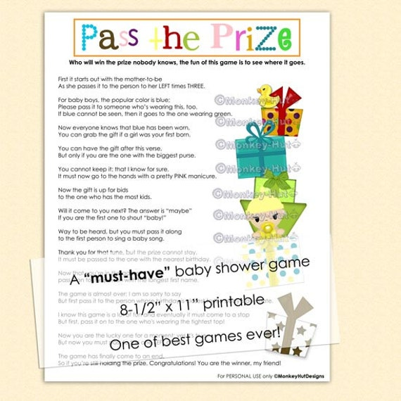 Baby Shower Games In Spanish: Pass The Prize Baby Shower Game A Must-have And So By