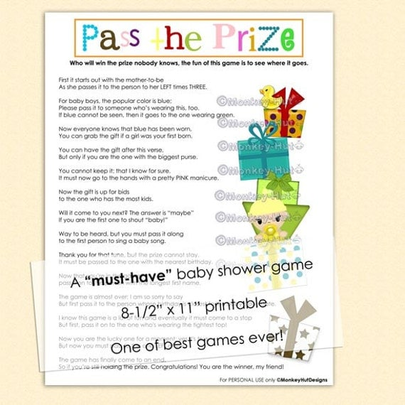 Eloquent image regarding baby shower pass the prize rhyme printable