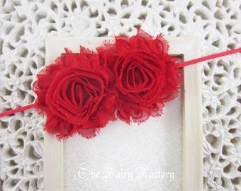 Red Flower Headband, Red Chiffon Rosettes Duo Stretchy Red Headband, Shabby Chic, Infant Baby Toddler Child Girls Headband Adult