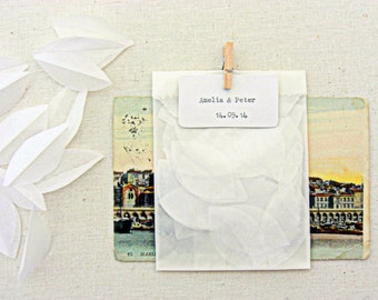 wedding confetti bags, 20 glassine bags with white paper petals, miniature peg, rustic