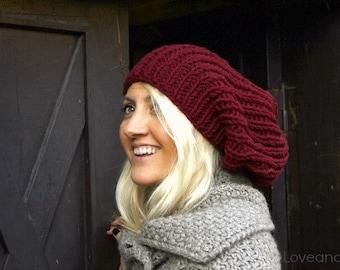 Burgundy Slouchy Hat . Hand Knit Beanie . Slouchy Beanie . Knit Hat . Loose Beanie Man Woman .Womens Slouchy Beanie . Womens Tam . Mens Tam