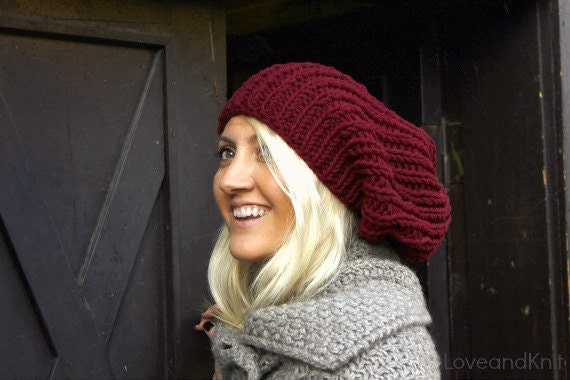 Burgundy Slouchy Hat . Hand Knit Beanie . Slouchy Beanie . Knit Hat . Loose Beanie Man Woman .Womens Slouchy Beanie . Womens Tam . Mens Tam