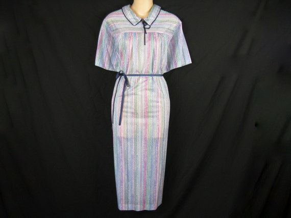 1970's sky stripe tunic dress. blue and purple striping. plus size. 2X. new old stock.