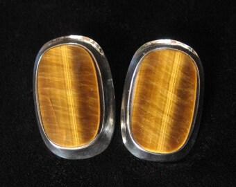 Joachim S'Paliu Tiger's Eye Modernist Sterling Earrings, RARE