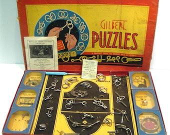 Gilbert Puzzles Boxed Set Vintage 1940s Puzzles No 1033 Wire Puzzles Dexterity Puzzle