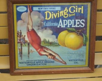 Vintage Diving Girl Apple Crate Label Framed Reproduction