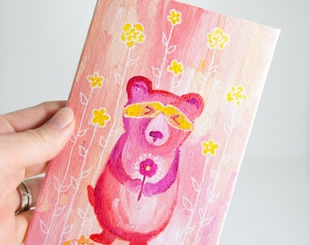 Bear Painting, Tiny Canvas, Pink Nursery Art, Baby Shower Gift, Childrens Room Art, Girls Room Art, Original Artwork, Small Painting