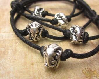 Elephant Bracelet, Cord Bracelet, Cotton, Vegan, Silver Elephant, Friendship Bracelet, Handmade Jewelry, Yoga, Zen, Spiritual, Hippy, Boho