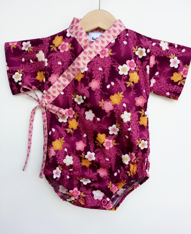 Baby Kimono Bodysuit BURGUNDY SAKURA Baby girl by koolmono