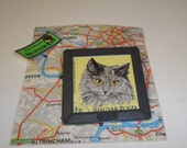 Recycled Vintage Film Slide Transparency And Cat Postage Stamp Brooch Handmade By Recycloanalyst