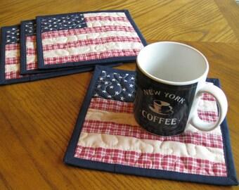 Americana Quilted Mug Rugs / Handmade Coasters