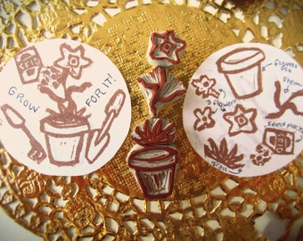 How Does Your Garden Grow - a hand carved rubber stamp set.