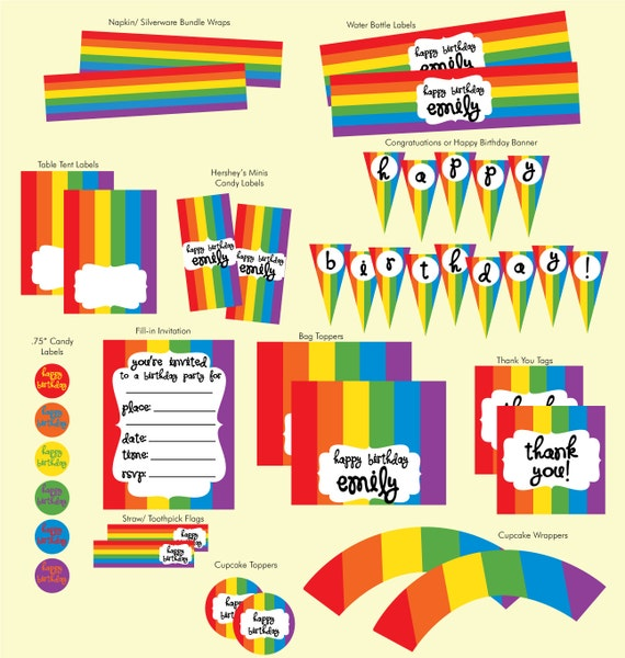 PRINTABLE Rainbow Theme Birthday Party by FelixandFelicityShop