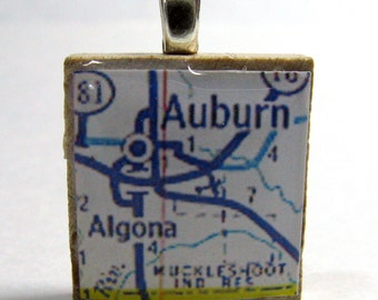 Auburn, Washington - 1972  vintage Scrabble tile map pendant