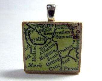 Puyallup and Orting, Washington - 1895 vintage map Scrabble tile pendant