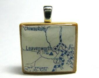 Leavenworth, Washington - Scrabble tile pendant made with 1925 vintage map