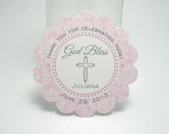 Pink Wisteria & grey rounded CROSS tags - baptism, communion, christening, confirmation