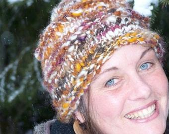Custom Order for Jenny-Hand Spun, Hand Knit Woolen Hat - Earth Tones