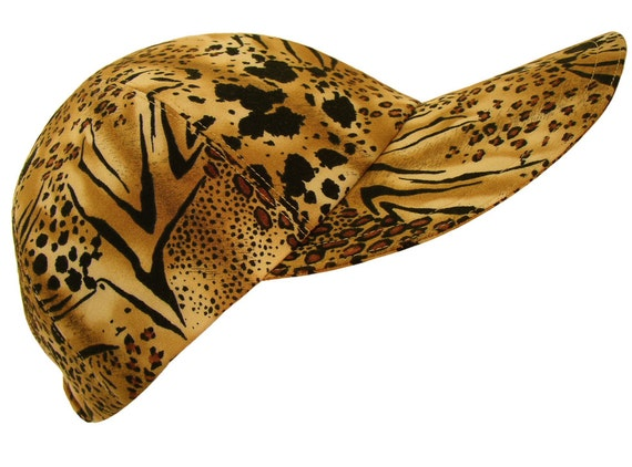 The Aristocat - Ladies Baseball Ball Cap Leopard Spots & Tiger Stripes cotton cloth fabric animal skin print Fall Fashion Hat by Calico Caps