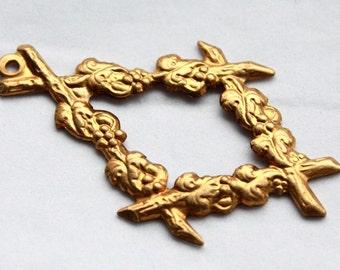 4 Vintage Brass Edwardian Floral Art Nouveau Pendants