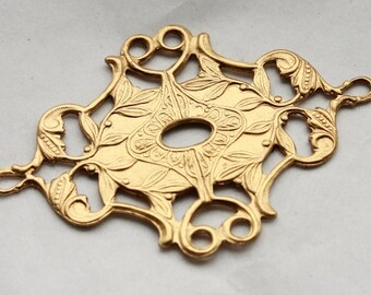 3 Vintage Edwardian Style Art Nouveau Stampings // Art Deco Flapper Era Brass Stamping