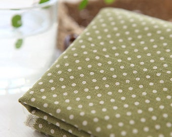 A Yard of Dots on Yellow Green Linen Blended WIDE 145cm, U7041