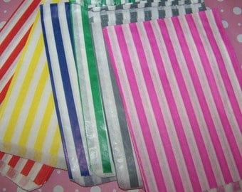 Treat Bags In Pretty Striped 12 Bags Bitty Bags Fast Shipping