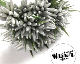Metallic Silver Spikey Bud Flower Picks / Stamens for Flower Making & Millinery Bunch of 12