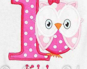 Personalized Owl Birthday Shirt, Number, Monogrammed, Custom Colors, Girls Birthday Shirt, Shirt,Tank,Bodysuit,Romper, 3m up to 12 yrs,Gift