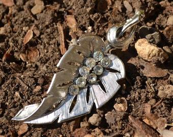 Vintage Rhinestone Leaf Brooch