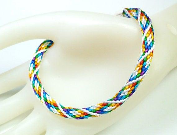 rainbow diamonds braided friendship bracelet by quietmischief. Black Bedroom Furniture Sets. Home Design Ideas