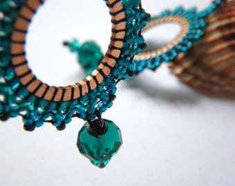 PASSIFLORA EARRINGS - Emerald CAPRI - beaded beads lace on copper ring