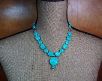 Natural American Turquoise Gemstones and .925 Sterling Silver Pendant  Necklace