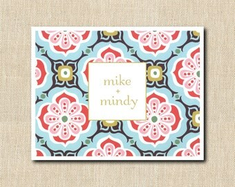Personalized Folded Note Cards -  MOTHERS DAY GIFT -  Set of 8 - vintage floral pattern
