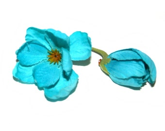 Delphinium Buds -  10 in Turquoise- Usable petals - Silk Flowers