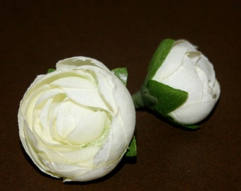 10 Cream White Baby Ranunculus - Artificial Flowers, Silk Flowers
