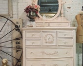 Painted Cottage Chic Pink Romantic Dresser and Mirror CH53