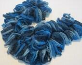 Blue Dark Blue light blue ruffled scarf