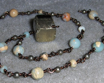 African Opal Jasper & Pyrite Wire Wrapped Necklace on Antiqued Copper