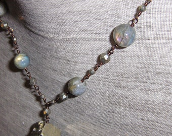 Labradorite Necklace,  Pyrite Necklace Wire Wrapped on Antique Copper