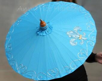 Parasol Embroidered Nylon Parasol - Fleur de lis