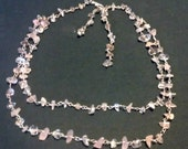 Handmade 925 sterling silver, rose quartz, and smokey quartz two strand necklace