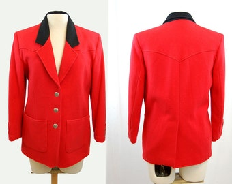 Red Western jacket, Pioneer Wear, wool jacket, Conchos buttons, red black, 1980s Southwestern blazer, Size M