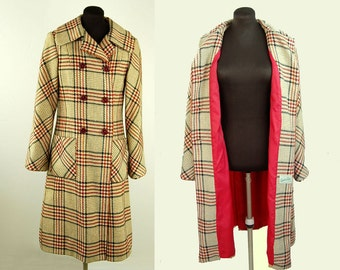 1970s wool coat, plaid tweed coat by Sandra Sage, tan red black, double breasted coat, Size M