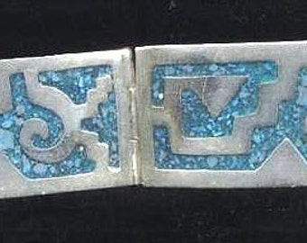 Silver Turquoise  Mosaic Bracelet  Alpaca Mexico Silver Bracelet   4 hinged links Free ship in USA