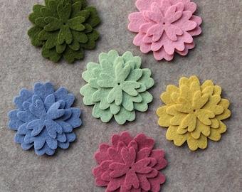 Wool Garden - Verbena - 36 Die Cut Wool Blend Felt Flowers