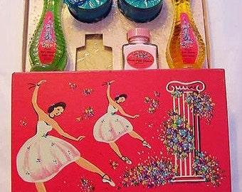 Sale...French Ballet Bouquet Apple Blossom Lander 1950s Perfume Bottle Powder Gift Set Vintage