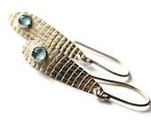 Blue Topaz and Silver Teardrop Earrings, Screen Texture