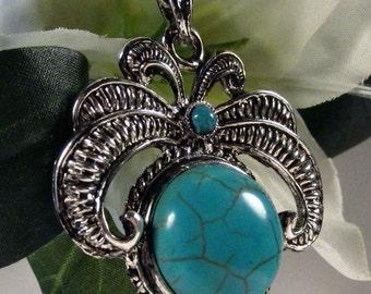 Turquoise Pendant - Antique Silver - 1 pc : 04.06.13.3 - U12