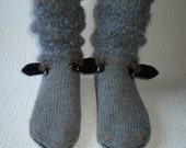 Hand-knitted grey baa-lamb women socks